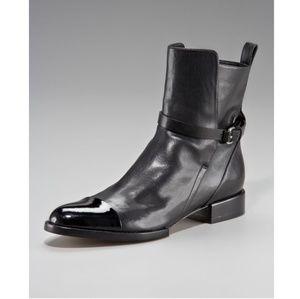 Alexander Wang Kat Cap Toe Black Leather Boots
